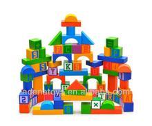 Wooden kids educational DIY Toys Building Block 100pcs Wooden Color Educational Block