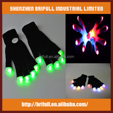 Rainbow color flashing led light up magic gloves