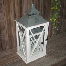 White wooden garden candle holder lantern with metal top