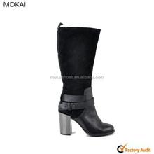 62996 special black knee boots metal high heel with buckles
