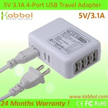 5V/3.1A USB Cargador 4-Port Charging Station+4 Port Travel/Wall Charger Power Adaptor for Samsung Tablets, Galaxy S5 S4 S3