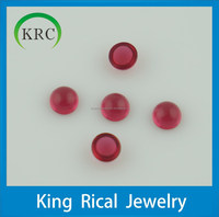 Glass material flat bottom cabochon red glass stone