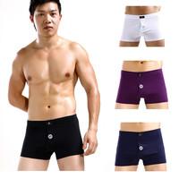 Wholesale fashion men's 100% cotton solid boxer short underwear