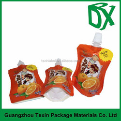 Logo printed stand up spout liquid bags with spout top,coffee pouch fruit juice bag,jelly packaging