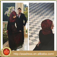 NSM-15 Black and Red Rose Pattern Arabic Evening Gowns Long Sleeve Lace Evening Dress for Muslim Women