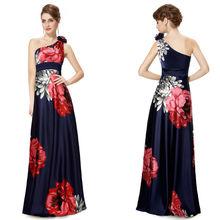 un hombro floral azulimpresa de flores de raso vestido de noche he09623sb