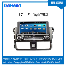 For Toyota YARIS Car DVD GPS Android Navigation Quad Core USB SD Wifi 3G RDS Radio MP5 DVR OBO Mirror Link 1080P