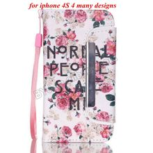 Fashion Cool Wallet Case for iPhone 4S Flip Leather Cover Mobile Phone Cases Cover 10 designs
