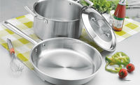 3 PCS stockpot fry pan 3 Ply Stainless Steel Kitchenware Set