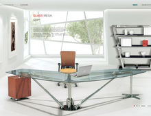 wrought iron glass table,fancy glass tables,office table with glass top MR-DB034