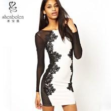 M3070 muchacha del desgaste del vestido occidental sxy bordado de las ventas calientes vestidos casuales de manga larga