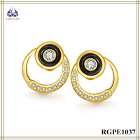 Earring Factory China Gold Plated Stud Earring With Black Resin