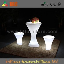 PE RGB color changed LED catering cafe bar chair& table