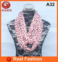 In stock wholesale wine and white jersey greek key printed infinity scarf loop scarf A32