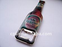 Oem regalo superior de impresión de metal de la forma de la botella de cerveza abridor