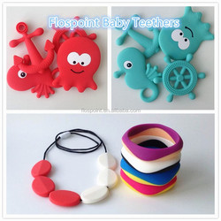 BIG SALE!!100% Food Grade Soft Sea Animal Silicone Baby Teether /Baby Teething Necklace for Biting