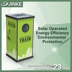 Outdoor solar energy powered stainless steel fire-retardant litter bins