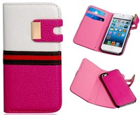 PU Leather & Plastic Case with Magnetic Closure for iPhone 5S 5C 5G