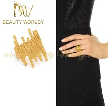 2015 latest edgy design gold jewelry gold plated ring