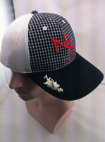 Custom sandwich mesh front plaid 3d embroidery golf cap with magnet mark