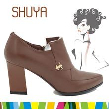 Warm winter shoes handmade high heel footwear mature women ankle leather boot