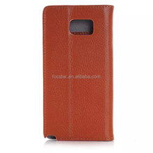 Litchi Skin Pattern Genuine Real Leather Flip Case for Samsung Galaxy Note 5 N9200