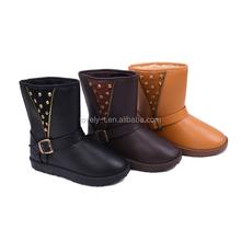 new fashion woman short warm buckle flat snow boots