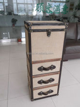 Old fashion vintage burlap fabric high storage chest of drawers trunk