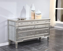 Elegant french style 6 Drawer Mirrored Dresser in Silver Leaf Finish With Antique Mirrored