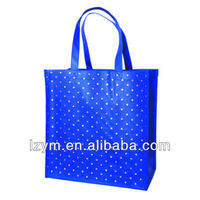 2014 hot non woven eco-friendly blue shopping tote bag with dot star printing