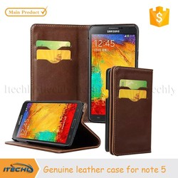 2015 Itechly New Luxury Genuine Leather Wallet Flip Phone Case Cover for Samsung Galaxy Note 5 with Credit Sard Slot and Stand