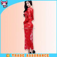 European red hot women transparent nightgown