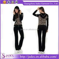 Stylish leopard printing design cheap jogging suit for women