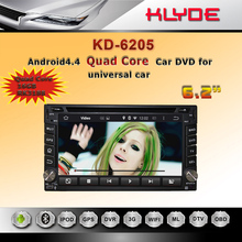 hot sale model android 4.4 quad core RK3188 ROM 16G car dvd gps navigation for universal kd6205