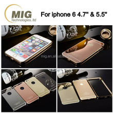 Luxurious hard metal aluminum mirror back cover mobile phone case for iphone 6/ 6s/ 6plus/ 6s plus