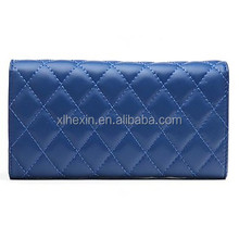 Women's Diamond Lattice Sheepskin Wallet Purse Clutches Wristlet Handbags