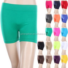 2015 OEM women Seamless Basic Plain Solid Tight Athletic crossfit Shorts Stretch Nylon and Spandex Pants S M L