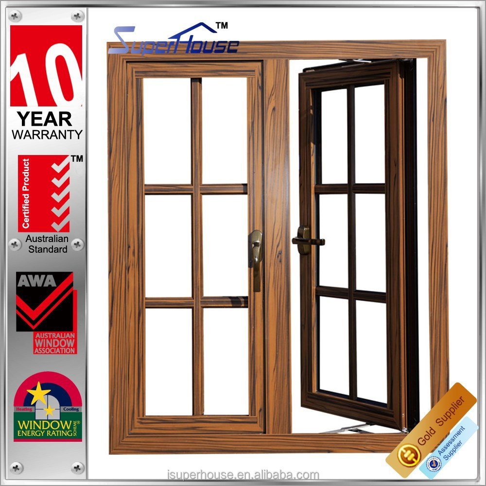 Single double panel wood color aluminium french windows for Single window design