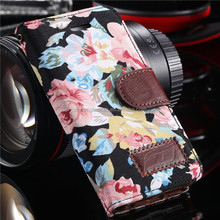 Lovely Floral PU Leather Case for iphone 5 5S 5G i5 Women Flower Grain Wallet Stand Cover Bag Pouch