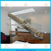 indoor stainless steel wood stair/central beam staircase/villa design entrance stairs