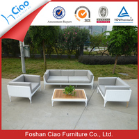 White wicker outdoor furniture 3 seater and single sofa