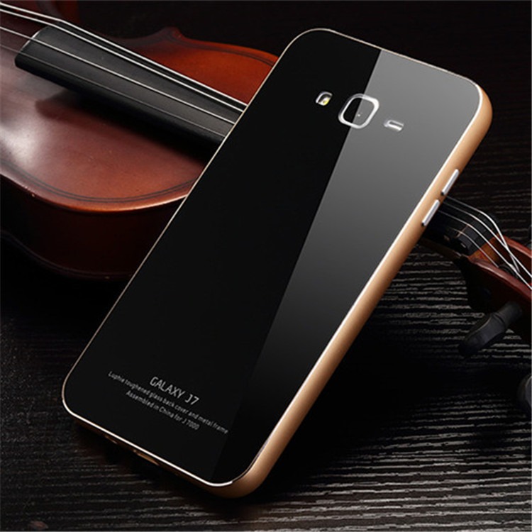 Metal Bumper And Tempered Glass Back Cover Phone Case For Samsung J7 ...