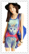 Newest fashion dress! 2015 Women Galaxy Prince Cat Sleeveless Top Dress