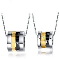 SJ Rotation Roman Numerals Stainless Steel Symbol Couple Necklace
