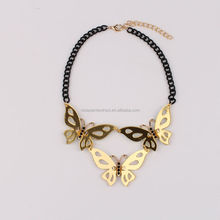 2015 Newest arrival necklaces jewelry fashion butterfly pendant necklace fancy acrylic statement necklace