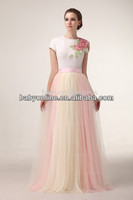 2014 Actual Image Ruffles Beads Sequins Crew Neckline Floor Length Tulle Evening Dresses DH4541