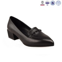 Ladies pictures casual leather fancy pointed toe flat girls dress shoes