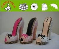 dots Ceramic lady's high heel shoe money bank , money saving bank