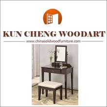 Beautiful Kuncheng collection Vanity Makeup Table & Stool Set - Black/Wooden mirrored dresser