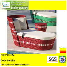 Colorful Daybed/Sunbed /lounge Rattan Outdoor Furniture